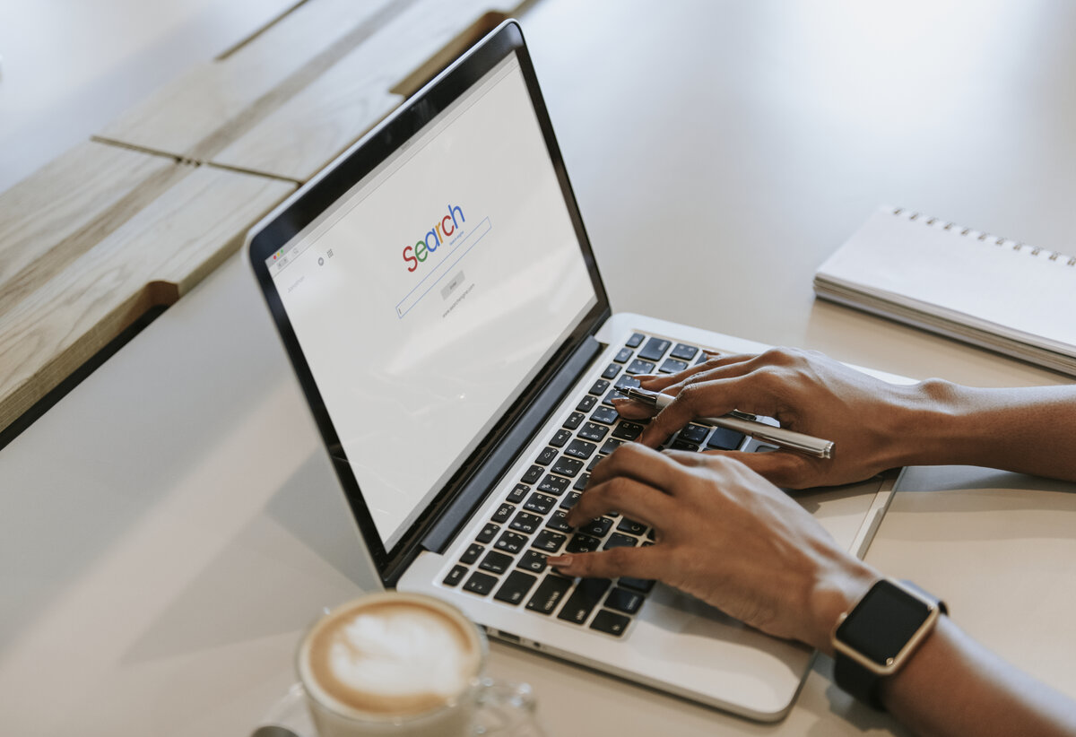 Google Search Engine on a laptop for SEO